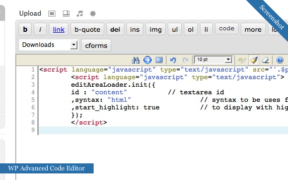 WP Code Plugin Screenshot