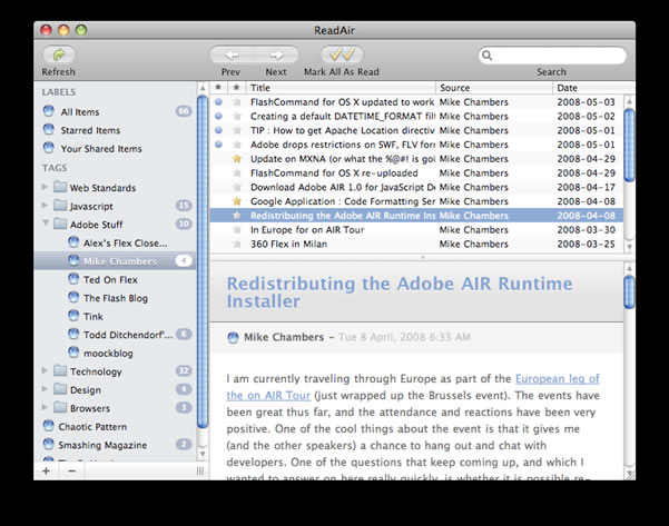 Adobe Air and RSS