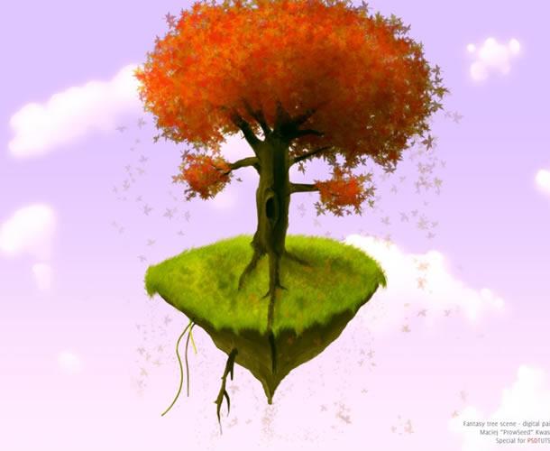 Digitally Paint a Fantasy Tree Scene Photoshop Tutorials