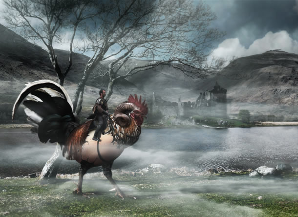 Fantasy Creature in a Misty Landscape Photoshop Tutorials