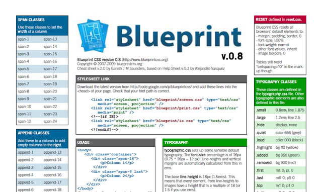The blueprint framework tutorials how to guides and tools blueprint css framework toolbox malvernweather Images