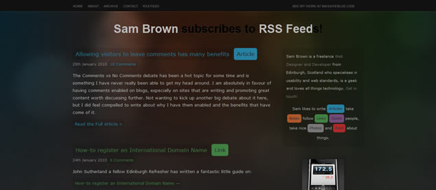 Sam Brown - Awesome Blog Designs