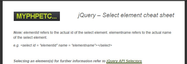jQuery – Select Element Cheat Sheet (PDF)