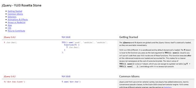 jQuery - YUI3 Rosetta Stone