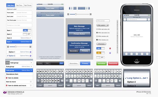iPhone Design Stencils - Yahoo Design Pattern Library