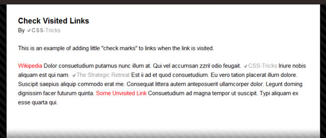 """Checkmark"" Your Visited Links with Pure CSS"