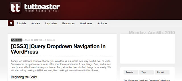 jQuery Dropdown Navigation in WordPress