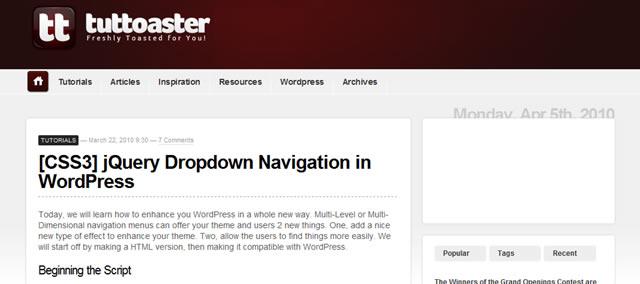 jQuery Dropdown Navigation in WordPress