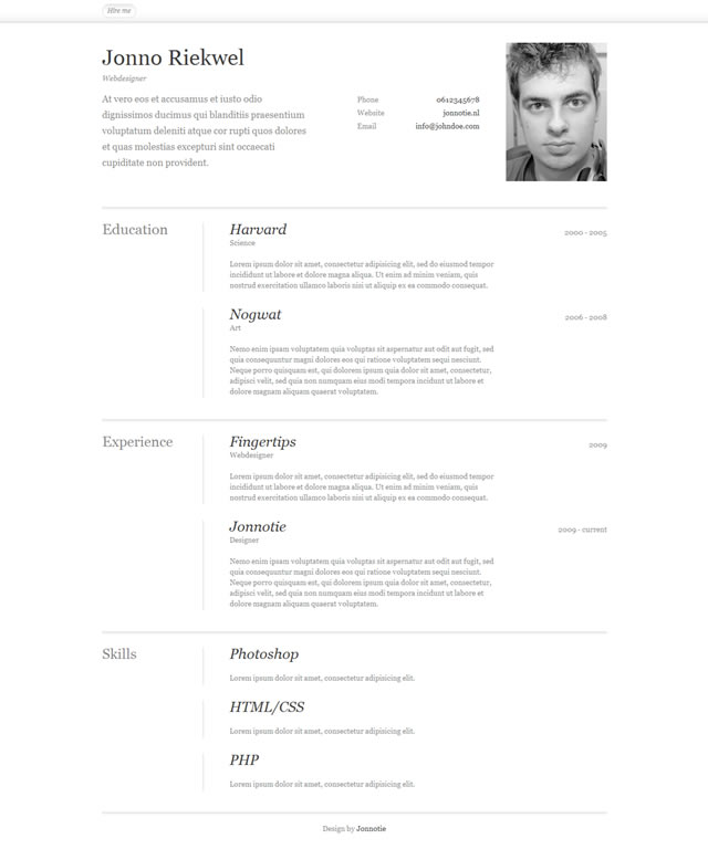 Resumé Template by Jonno Riekwel