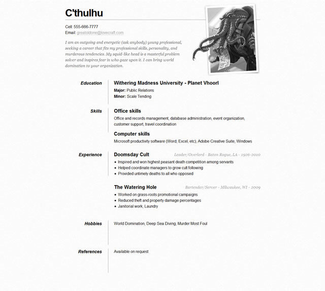 one page rsum site by css tricks - One Page Resume Template