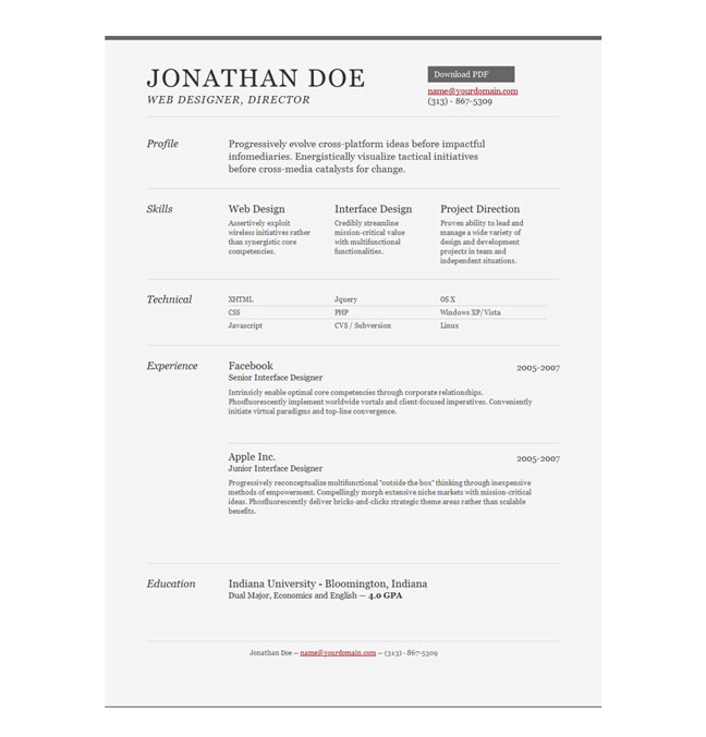 sample resume template by things that are brown - Cv Resume Samples Download