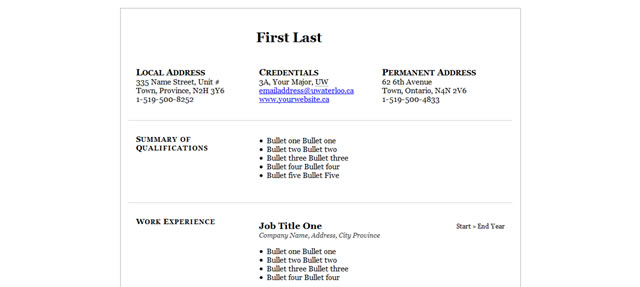 sans serif two column - Free Job Resume Template