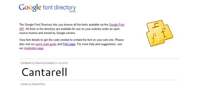 谷歌字体目录