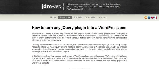 如何打开任何jQuery插件WordPress的一成一