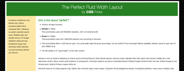 The Perfect Fluid Width Layout from CSS Tricks