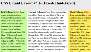CSS Layout (Fixed-Fluid-Fixed)