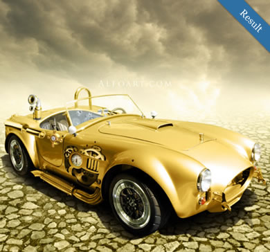 Create a Steampunk Golden Car Illustration