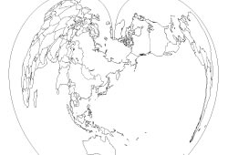 Blank map of the World map Pacific Ocean centerd