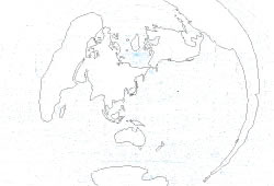 Blank map of the World map Tokyo/Japan centered