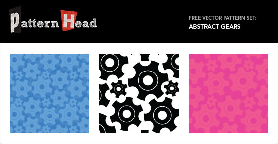 Abstract Gears - 3 Patterns EPS PNG