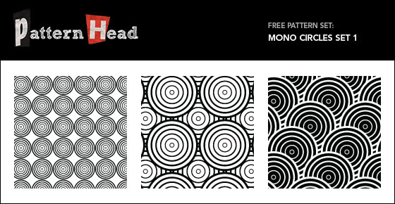 Mono Circles - 3 Patterns EPS PNG