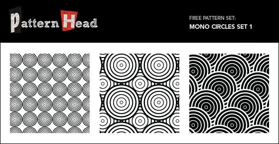 Mono Circles - 3 Patterns EPS PNG