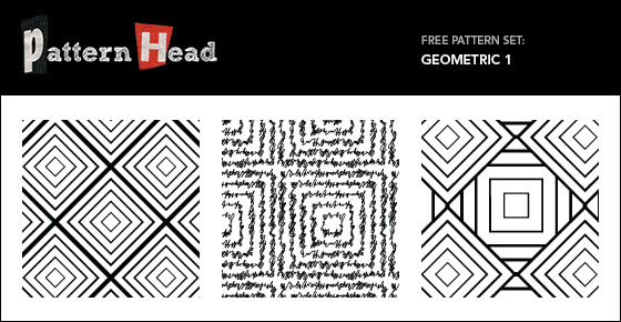 Geometric Set - 3 Patterns EPS PNG