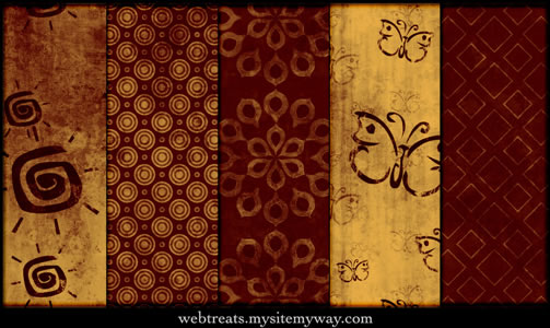 Vivid Red Tileable Patterns - 5 Patterns JPG PAT