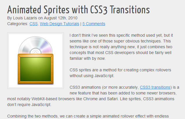 Animated Sprites with CSS3 Transitions