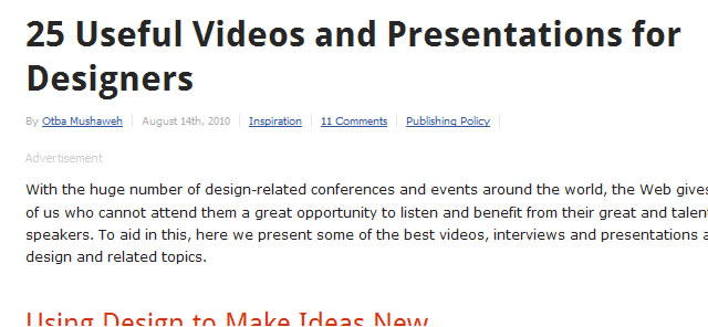25 Useful Videos and Presentations for Designers