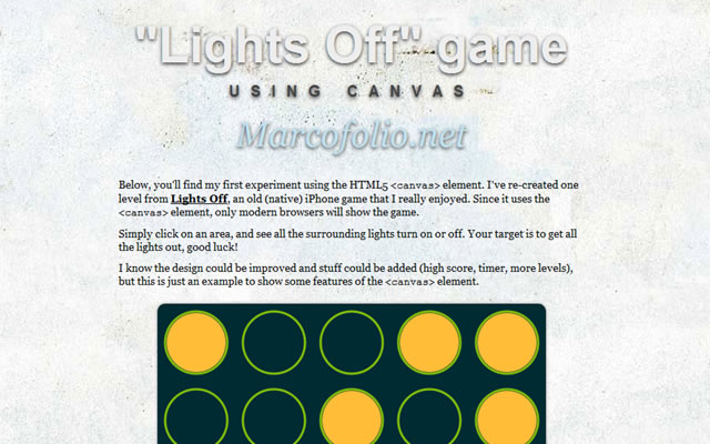Lights Off - A puzzle game using the HTML5 canvas element