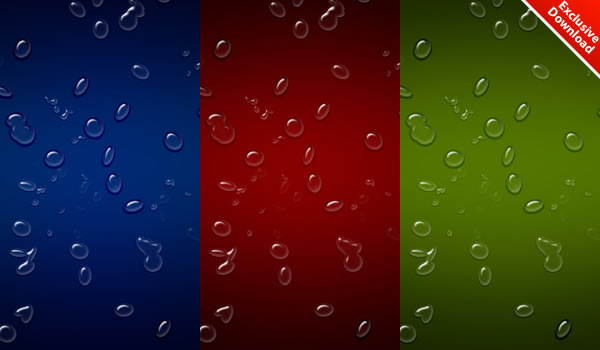Realistic Waterdrops Background in 3 Colors (.PSD included)