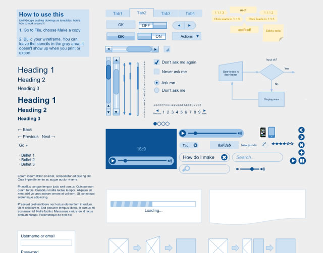 Wireframe kit - Google Docs