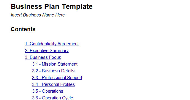 Business Plans Template Business Plan Templates   Key Elements