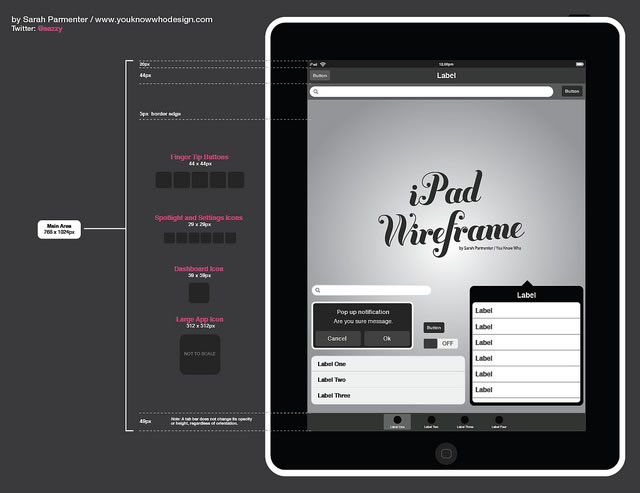 iPad Wireframe Template .eps illustrator toolbox