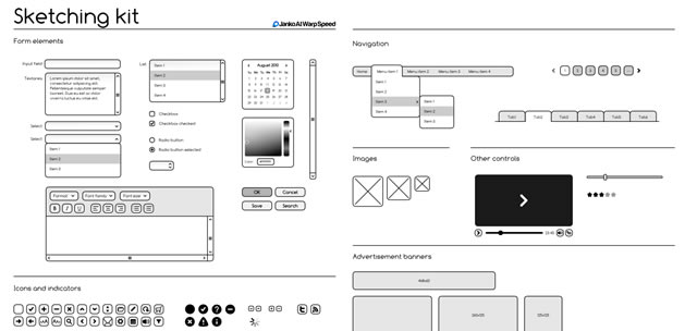 Sketching & Wireframing Kit .ai & .eps