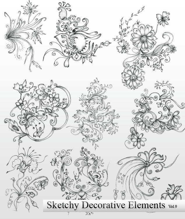 Vector Sketchy Decorative Elements Preview