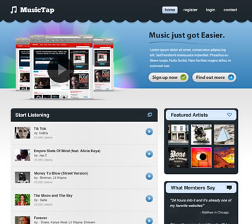 Music Streaming Website Design