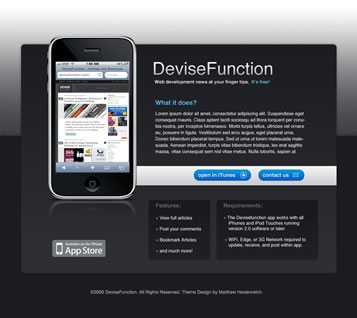 Simple iPhone Application Website Layout