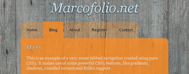 Sweet Tabbed Navigation Bar using CSS3