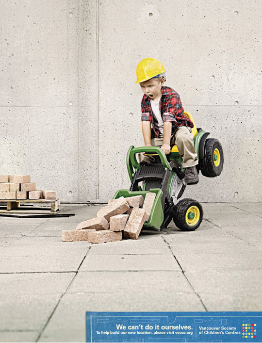 Print Ad - Child on a Toy Backhoe