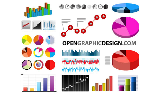 Bar Graphs, Line Charts, Pie Charts and 3d Graphs (.eps, .ai & .svg)