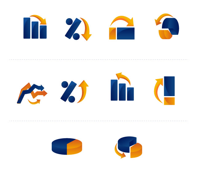 Vector Graph and Chart Icons AI EPS