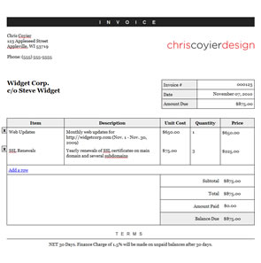 Essential CSS Templates Resources And Downloads - Css invoice template