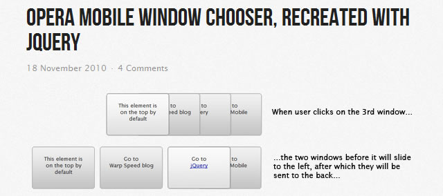 Opera mobile window chooser, recreated with jQuery