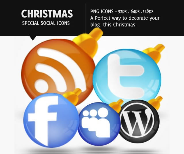 Glossy Christmas Themed Social Media Icons