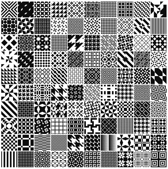 Monochrome Geometric Patterns - 100 Patterns (.ai)