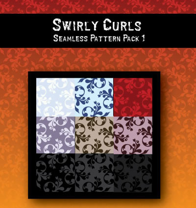 Swirly Curls - 9 Patterns (.jpg, .ai & .eps)