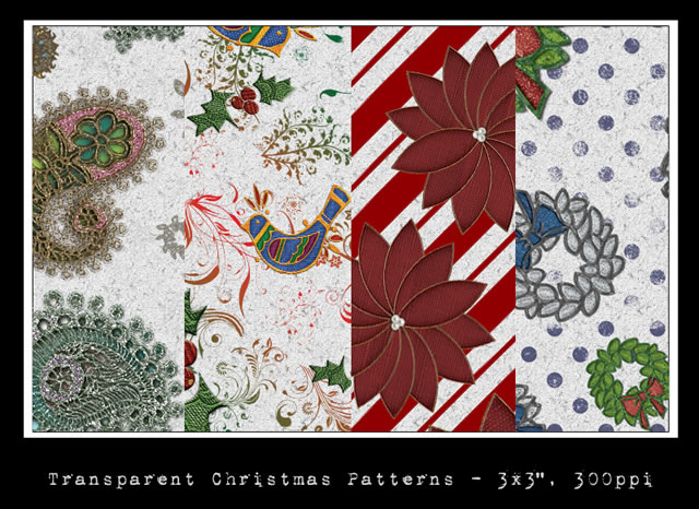 Seamless Transparent Christmas Patterns