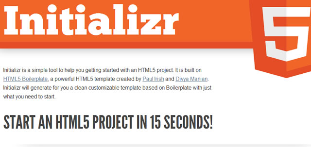 Initializr - Start your HTML5 project in 15 seconds